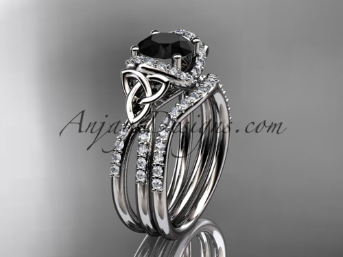 14kt white gold diamond celtic trinity knot wedding ring, engagement set with a Black Diamond center stone CT7155S