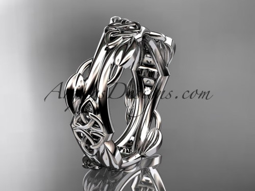 14kt white gold diamond celtic trinity knot wedding band, engagement ring CT7354G