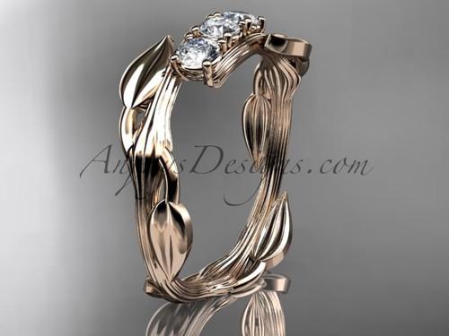 14kt rose gold diamond leaf and vine three stone ring ADLR247