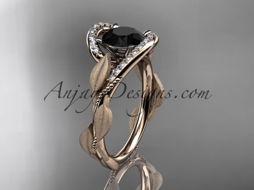 14kt rose gold diamond leaf and vine wedding ring, engagement ring with Black Diamond center stone ADLR64
