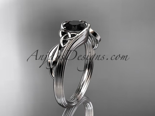 14kt white gold celtic trinity knot wedding ring, engagement ring with a Black Diamond center stone CT7324