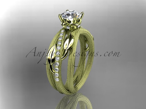 """14kt yellow gold diamond leaf and vine wedding ring,engagement ring with a """"Forever One"""" Moissanite center stone ADLR329"""