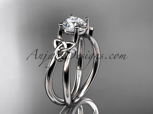 "14kt white gold celtic trinity knot wedding ring, engagement ring with a ""Forever One"" Moissanite center stone CT7130"