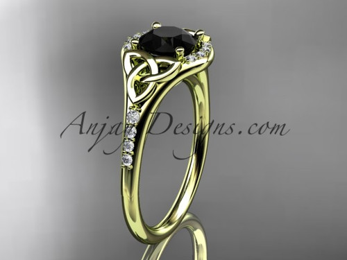 14kt yellow gold diamond celtic trinity knot wedding ring, engagement ring with a Black Diamond center stone CT7126