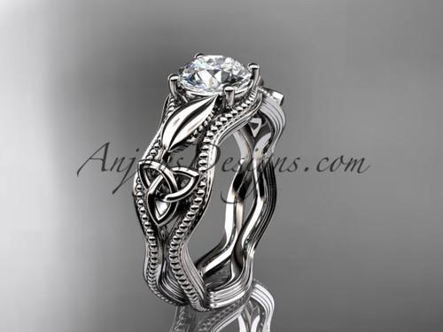 14kt white gold diamond celtic trinity knot wedding ring, engagement ring CT7382