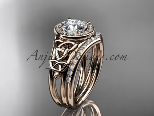 14kt rose gold diamond celtic trinity knot wedding ring, engagement set CT7131S