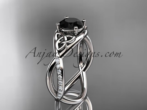 White Gold Celtic Knot Ring, Black Diamond Bridal Ring CT790