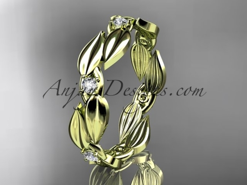 Leaf Yellow Gold Wedding Band - Diamond Ring ADLR58B