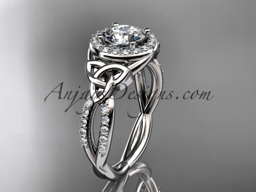 14kt white gold diamond celtic trinity knot wedding ring, engagement ring CT7127