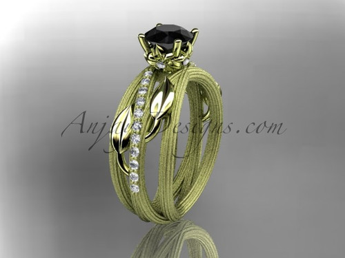 14kt yellow gold diamond leaf and vine wedding ring, engagement ring with a Black Diamond center stone ADLR329