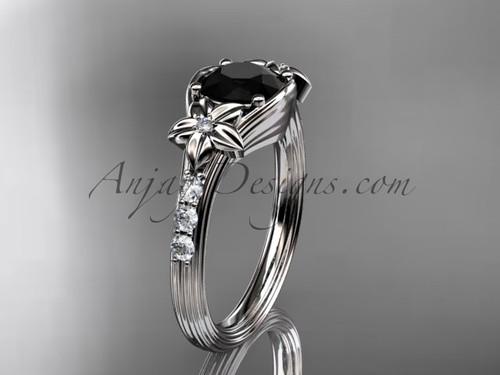 Unique Platinum diamond leaf and vine, floral diamond engagement ring with a Black Diamond center stone ADLR333