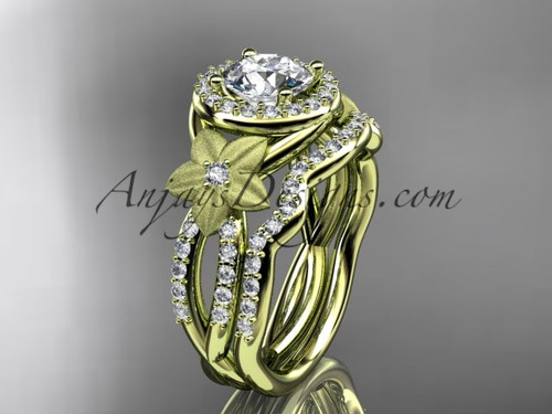 Yellow Gold Diamond Bridal set with wonderful flowers on sides ADLR127S
