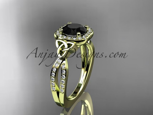 14kt yellow gold diamond celtic trinity knot wedding ring, engagement ring with a Black Diamond center stone CT7393