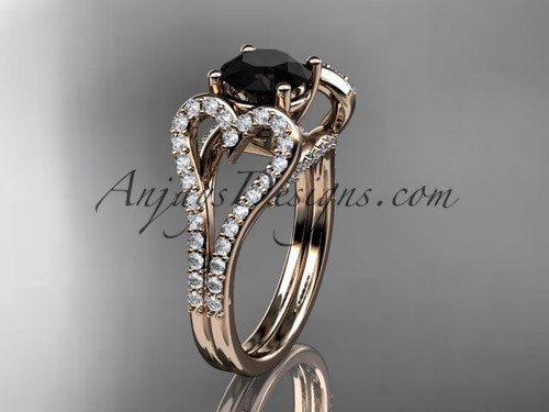 14kt rose gold heart  engagement ring, wedding ring with a Black Diamond  center stone ADER395