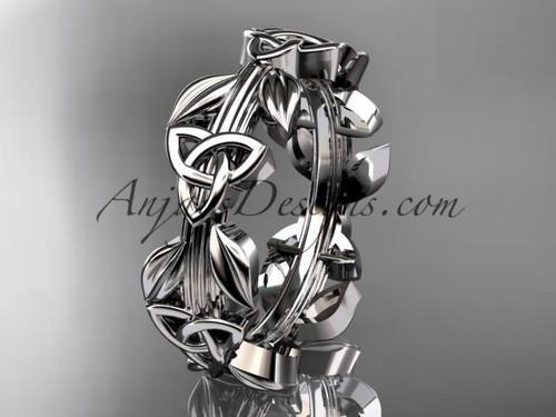 Celtic Knot Wedding Band, Platinum Trinity Ring CT7316G