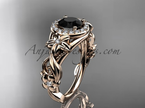 14kt rose gold diamond unique engagement ring, wedding ring with a Black Diamond center stone ADLR300