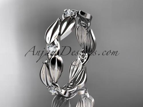 Leaf White Gold Wedding Band -  Diamond Ring ADLR58B