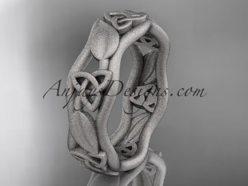 14kt white gold matte finish celtic trinity knot engagement ring, wedding band CT7105B