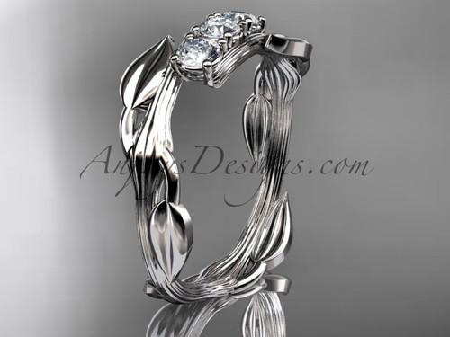 14kt white gold diamond leaf and vine three stone ring ADLR247