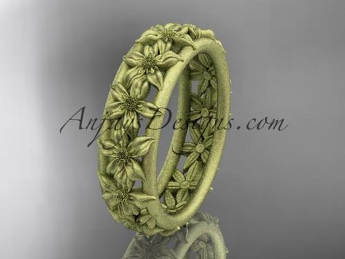 14kt yellow gold flower wedding ring, engagement ring, wedding band ADLR163G