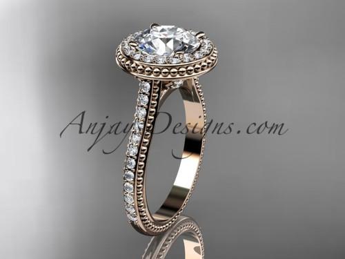 14kt rose gold diamond unique engagement ring, wedding ring ADER97