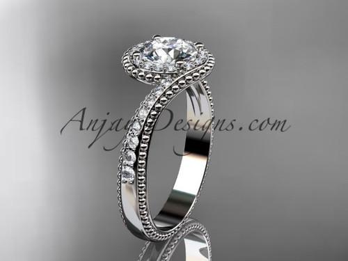14kt white gold halo diamond engagement ring ADLR379