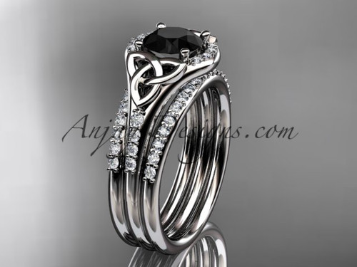 14kt white gold diamond celtic trinity knot wedding ring, engagement ring with a Black Diamond center stone and double matching band CT7126S