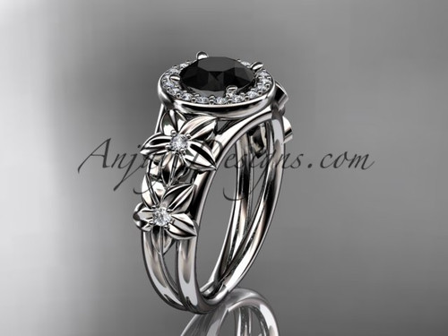 14kt white gold diamond floral wedding ring, engagement ring with a Black Diamond center stone ADLR131