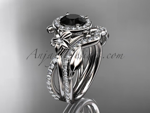 Platinum leaf and vine, flower engagement set, wedding set,  with a Black Diamond center stone ADLR89S
