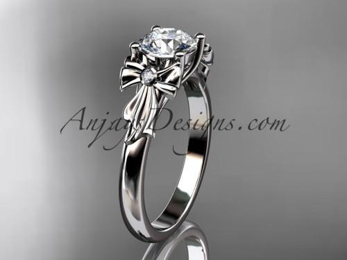Platinum diamond unique engagement ring, wedding ring,  bow ring,  ADER154