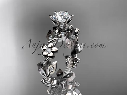 14kt white gold diamond leaf and vine engagement ring ADLR209