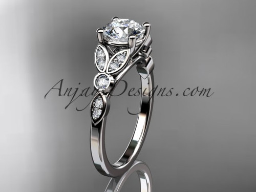 "14k white gold unique engagement ring, wedding ring with a ""Forever One"" Moissanite center stone ADLR387"