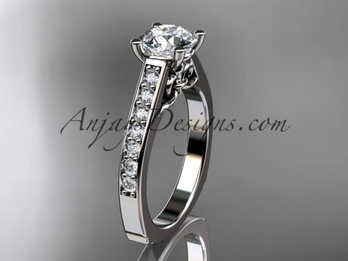 "14kt white gold diamond unique engagement ring, wedding ring with a ""Forever One"" Moissanite center stone ADER114"
