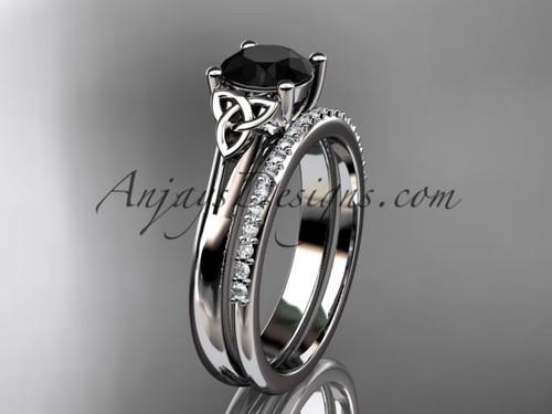platinum diamond celtic trinity knot wedding ring, engagement set with a Black Diamond center stone CT7154S