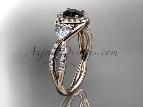 14kt rose gold diamond engagement ring, wedding ring with a Black Diamond center stone ADLR321