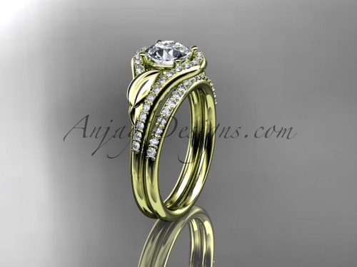 """14kt yellow gold diamond leaf wedding set, engagement set with a """"Forever One"""" Moissanite center stone ADLR334"""
