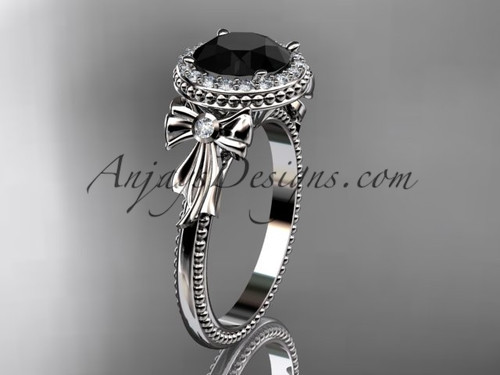 14kt white gold diamond unique engagement ring, wedding ring with a Black Diamond center stone ADER157