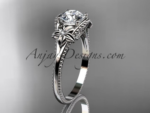 Moissanite center White Gold Flower Wedding Ring ADLR375