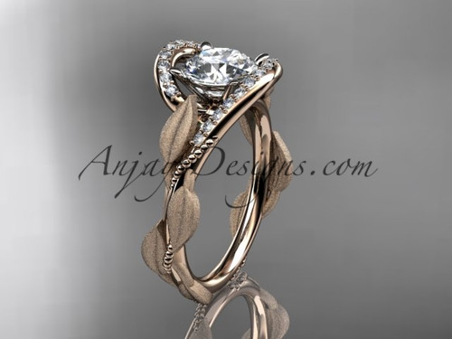 Solitaire Simple Engagement Ring Rose Gold Leaf Ring ADLR64