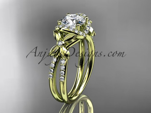 """14kt yellow gold diamond floral wedding ring, engagement ring with a """"Forever One"""" Moissanite center stone ADLR140"""