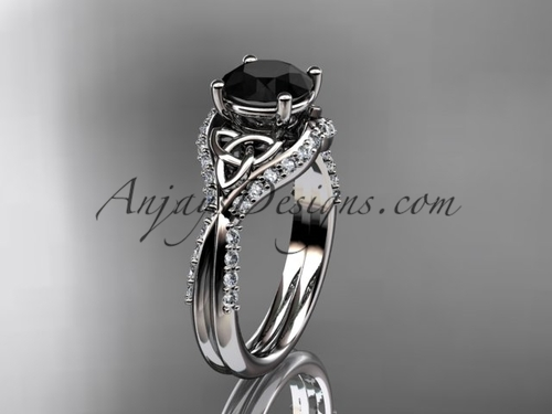 14kt white gold diamond celtic trinity knot wedding ring, engagement ring with a Black Diamond center stone CT7224
