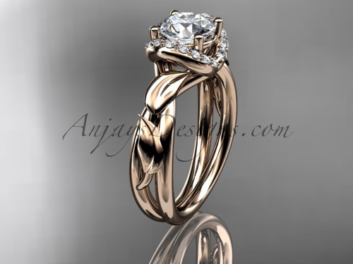 """14kt rose gold diamond leaf and vine wedding ring, engagement ring with a """"Forever One"""" Moissanite center stone ADLR289"""