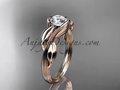 Moissanite Leaf Engagement Ring 14kt Rose Gold ADLR273