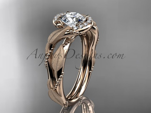 "14kt rose  gold diamond leaf and vine wedding ring, engagement ring with  ""Forever One"" Moissanite center stone ADLR65"