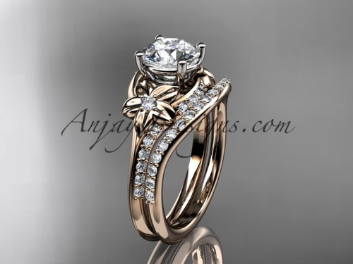 """14kt rose gold diamond floral wedding set, engagement set with a """"Forever One"""" Moissanite center stone ADLR125S"""