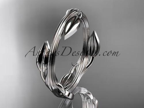 platinum leaf and vine wedding ring, engagement ring ADLR31G