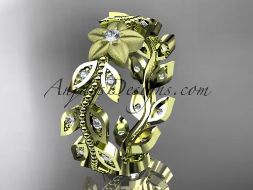 14kt yellow gold diamond flower, leaf and vine wedding ring, engagement ring, wedding band ADLR161B