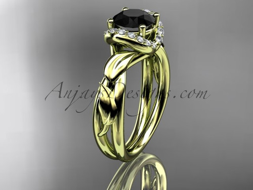 14kt yellow gold diamond leaf and vine wedding ring, engagement ring with a Black Diamond center stone ADLR289