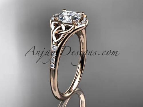 14kt rose gold diamond celtic trinity knot wedding ring, engagement ring CT7126