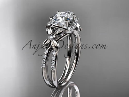 "14kt white gold diamond floral wedding ring, engagement ring with a ""Forever One"" Moissanite center stone ADLR140"